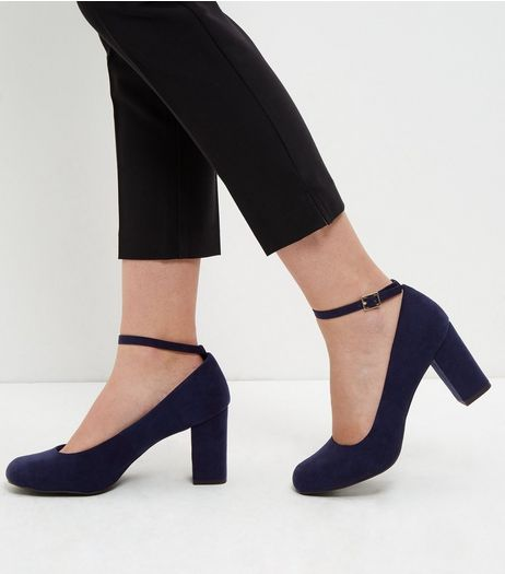 Wide Fit Navy Comfort Ankle Strap Block Heels  | New Look