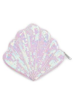 Pink Sequin Embellished Shell Coin Purse  | New Look