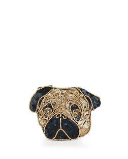 Bronze Sequin Pug Zip Top Purse | New Look