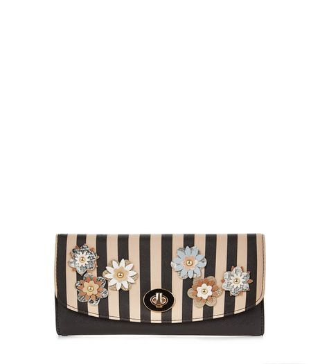 Camel Stripe 3D Floral Purse  | New Look