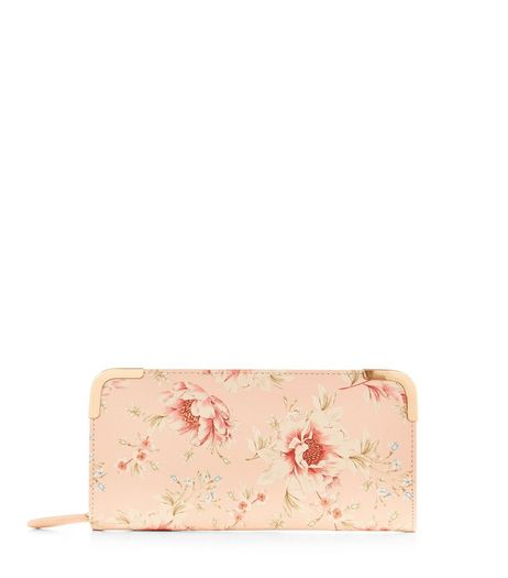 Pink Rose Print Zip Around Purse  | New Look