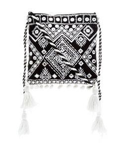 Black Embroidered Pom Pom Drawstring Bag  | New Look