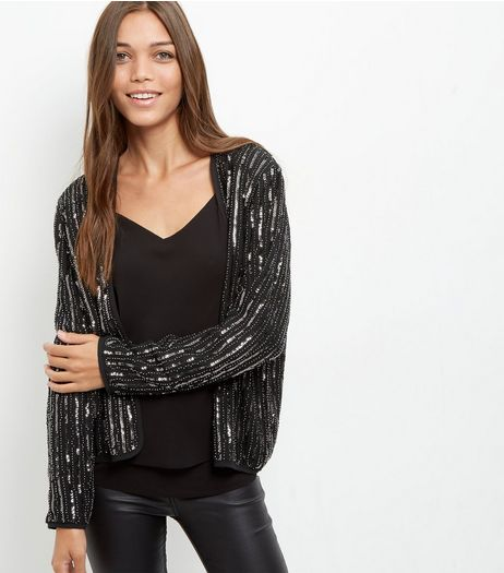Mela Black Sequin Jacket  | New Look