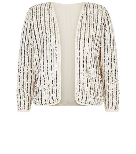 Mela Cream Sequin Jacket  | New Look