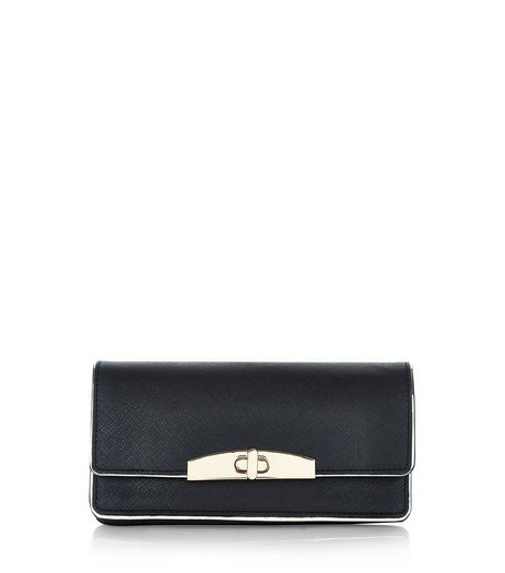 Black Contrast Trim Twist Lock Purse | New Look