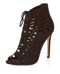 Black Suedette Laser Cut Out Peep Toe Ghillie Heels  | New Look