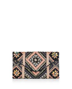 Navy Floral Embellished Clutch | New Look
