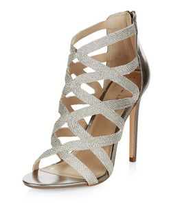 Gold Textured Cross Strap Heeled Sandals  | New Look