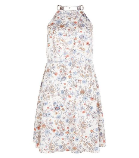 Brave Soul Blue Floral Print High Neck Skater Dress | New Look