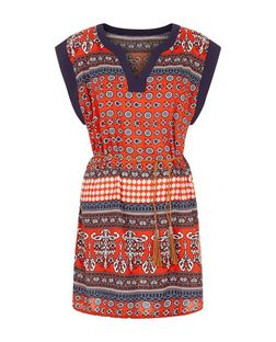 Brave Soul Red Absrtact Print Belted Tunic | New Look