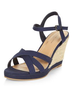 Navy Cross Strap Wedge Sandals  | New Look