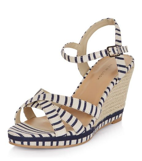 Blue Stripe Cross Strap Wedge Sandals  | New Look
