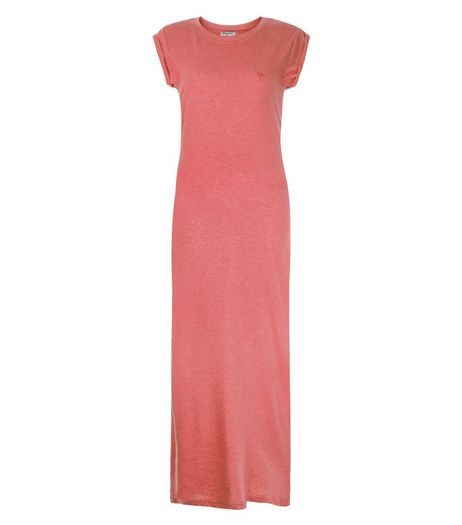 Brave Soul Coral T-Shirt Maxi Dress | New Look