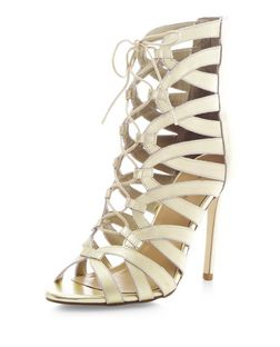 Gold Leather Cut Out Ghillie Heels  | New Look