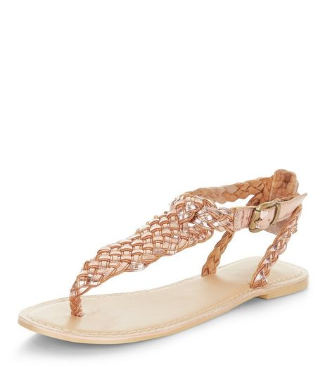 Bronze Leather Woven Strap Sandals  | New Look