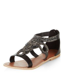 Black Leather-Look Beaded Sandals  | New Look