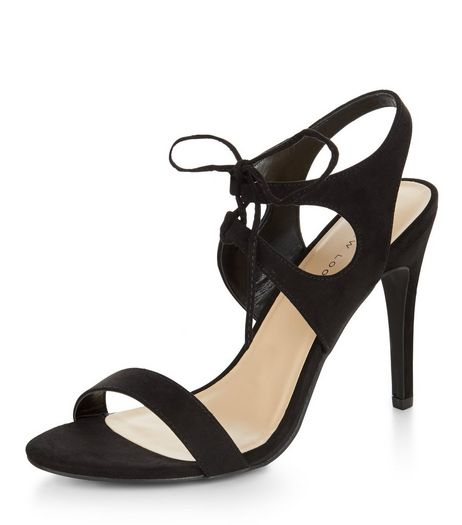 Black Suedette Tie Front Heeled Sandals  | New Look