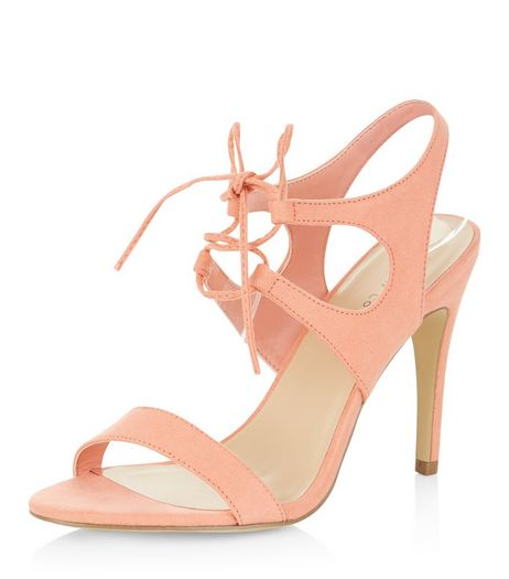 Coral Suedette Tie Front Heeled Sandals  | New Look