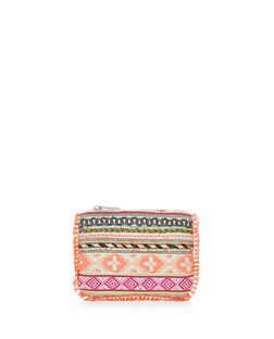 Multicoloured Aztec Fringe Trim Zip Top Coin Purse  | New Look