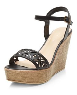 Black Laser Cut Out Strap Wedge Sandals | New Look