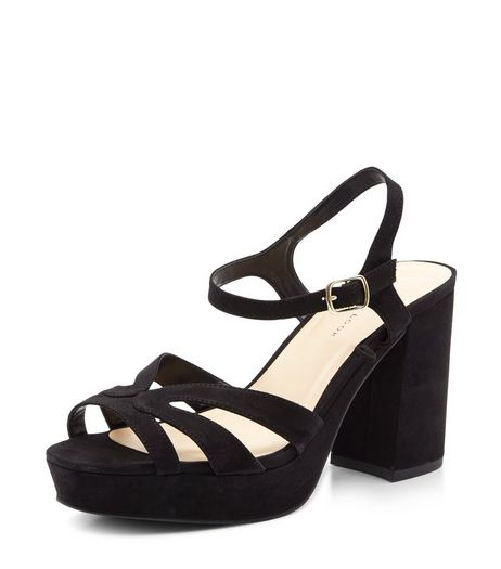 Wide Fit Black Suedette Strappy Platform Heels  | New Look
