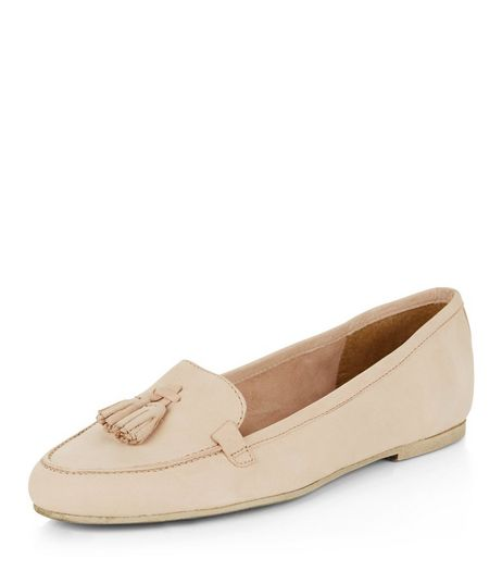Cream Leather Tassel Front Loafers  | New Look