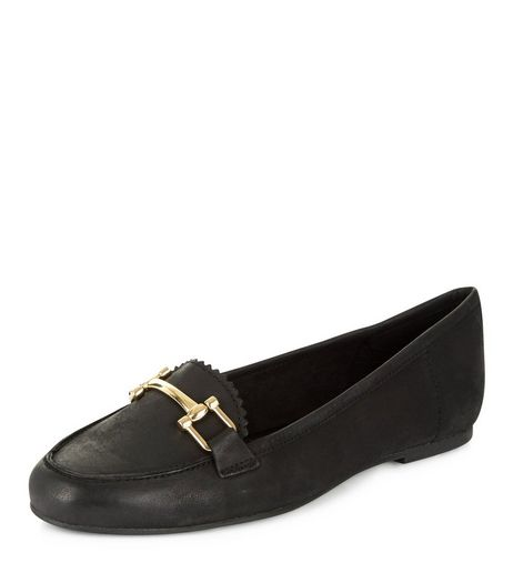 Black Leather Metal Trim Loafers | New Look