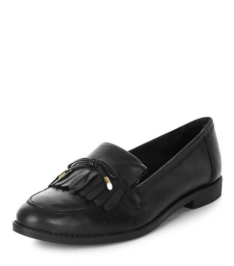 Black Leather Bow Tassel Front Loafers  | New Look