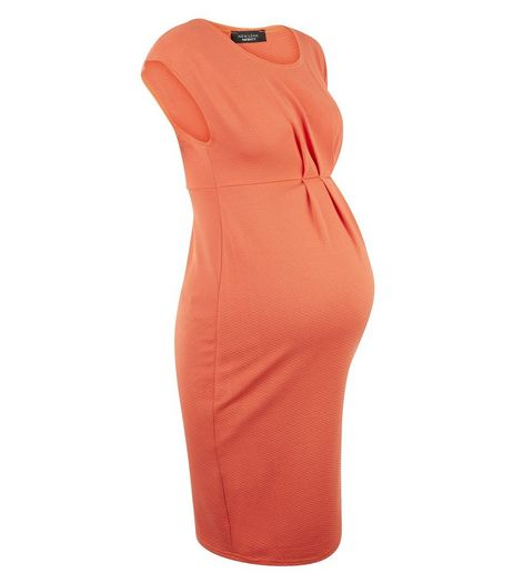 Maternity Orange Pleated Front Dress | New Look