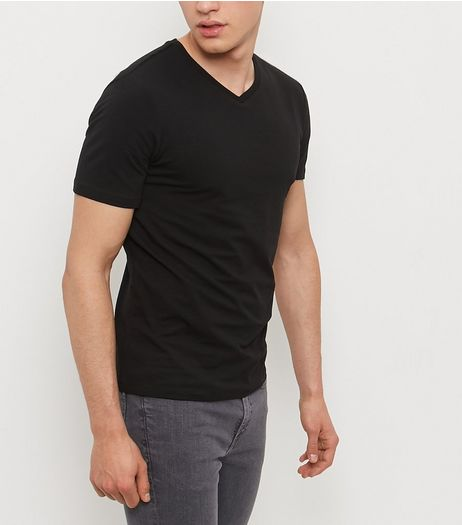 Black Cotton Stretch V Neck T-Shirt | New Look