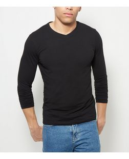 Black Cotton Stretch V Neck  Long Sleeve Top | New Look