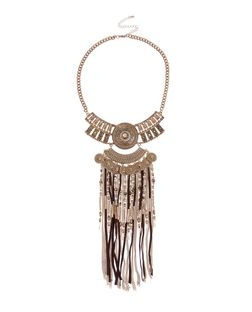 Gold Premium Gold Tassel Bib Necklace  | New Look