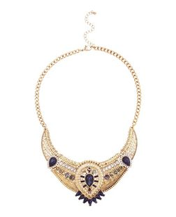Navy Premium Gem Stone Bib Necklace  | New Look
