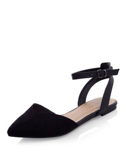 Black Pointed Ankle Strap Pumps  | New Look