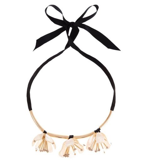 Cream Premium 3D Tulip Floral Necklace  | New Look