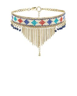 Multicoloured Beaded Tassel Choker | New Look