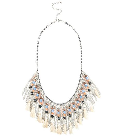 Silver Beaded Tassel Necklace | New Look
