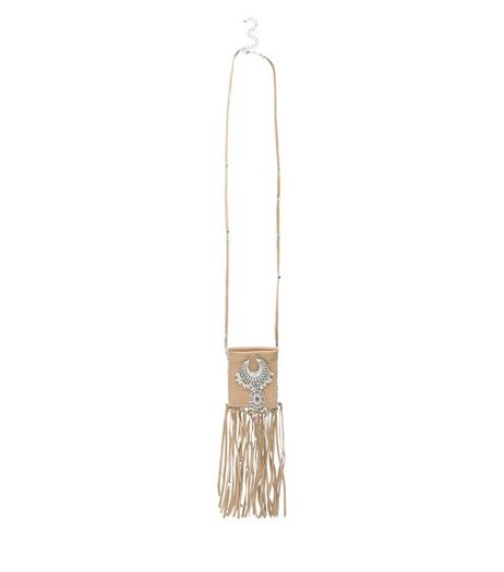 Brown Leather Fringed Pouch Pendant Necklace | New Look