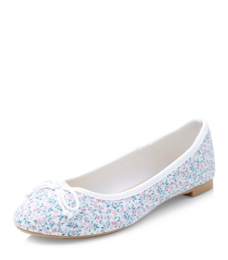 Blue Floral Print Ballet Pumps  | New Look