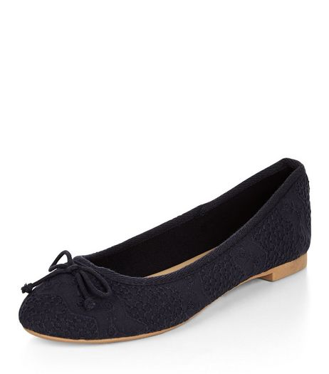 Navy Broderie Ballet Pumps | New Look