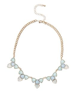 Blue Iridescent Triangle Necklace | New Look