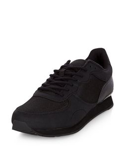Black Textured Panel Trainers  | New Look