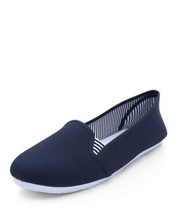 Blue Stripe Lined Slip On Plimsolls  | New Look