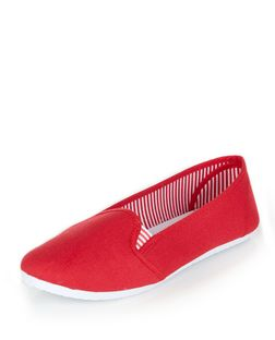 Red Stripe Lined Slip On Plimsolls | New Look