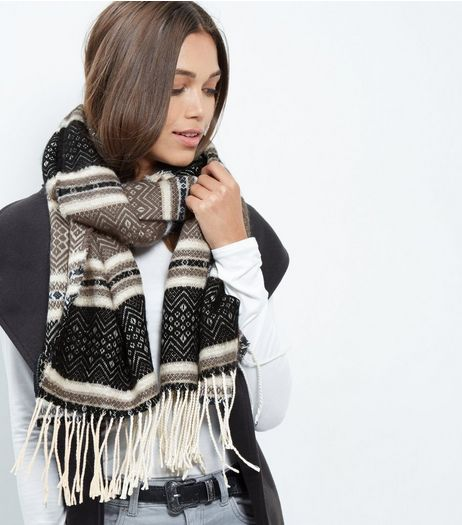 Cream Aztec Print Scarf | New Look