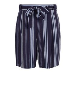 Teens Blue Stripe Belted Shorts | New Look