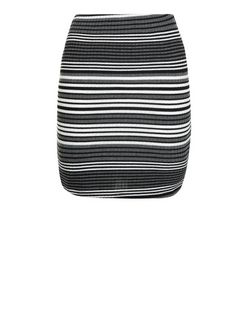 Teens Black Stripe Ribbed Tube Skirt  | New Look