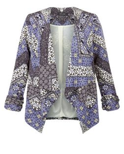 Blue Tile Print Waterfall Blazer  | New Look