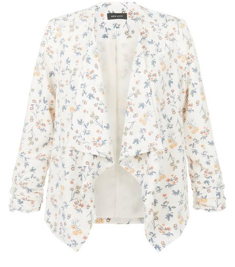 White Ditsy Floral Print Waterfall Blazer  | New Look
