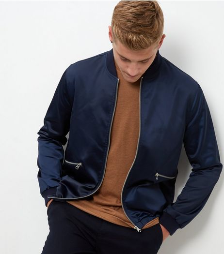 Navy Zip Pocket Front Bomber Jacket  | New Look